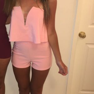 Fashion Nova Coral Strapless Romper